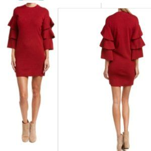 ELAN SWEATER DRESS LAYERED RUFFLE 3/4 SLEEVES